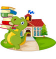 cartoon dinosaur carrying stack books vector image vector image