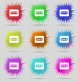 Cassette icon sign A set of nine original needle vector image vector image