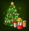 christmas tree with decoration presents holidays vector image vector image