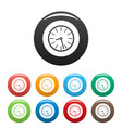 clock business icons set color vector image vector image