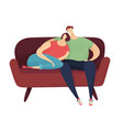 couple sitting on the sofa vector image