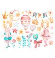 cute princess bagirl watercolor nursery vector image