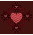 Dark red hearts ornament vector image vector image