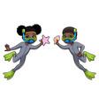 diver kids black vector image vector image
