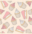 drawn pastry pattern with cake and cupcake vector image