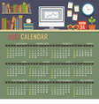 Flat Design Workspace 2017 Printable Calendar vector image