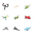 Flying machine icons set cartoon style vector image vector image