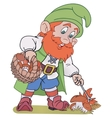 Gnome with basket vector image