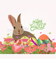 happy easter eggs invitation with rabbit abstract vector image vector image