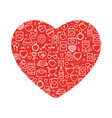 heart with icons for valentines day vector image vector image