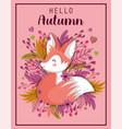 hello autumn leaves season poster vector image vector image