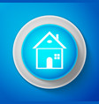 house icon on blue background home symbol vector image