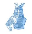 japanese samurai cartoon hero warrior clothes vector image vector image