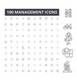 management editable line icons 100 set vector image vector image
