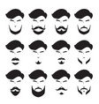 men beard set different style monochrome vector image