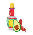 mexican independence day tequila bottle avocado vector image vector image