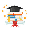 mortarboard cap on piles textbooks and diploma vector image vector image