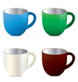 Multicolored cup set isolated on white background vector image