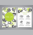 nuts and seeds set cards collection hand drawn vector image