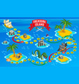 pirates board game isometric map vector image vector image