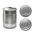 realistic preserve cans collection vector image vector image