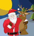 Santa Claus with reindeer on Christmas Background vector image