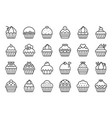 set of cupcake in various style outline icon vector image