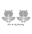set owl sugar mexican skulls vector image vector image
