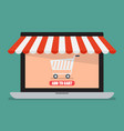shopping online laptop vector image vector image