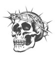 skull in thorns wreath vector image vector image
