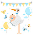 stork delivering a new baby boy vector image vector image