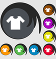 T-shirt icon sign Symbols on eight colored buttons vector image vector image