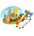 tepee traditional accommodation forest indians vector image vector image