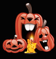 three pumpkins in the style of a holiday halloween vector image vector image