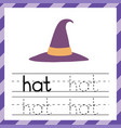 tracing worksheet with word - hat phonic vector image vector image