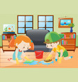 two kids cleaning floor at home vector image vector image