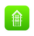 two-storey house with balconies icon digital green vector image vector image
