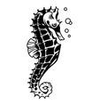 vintage monochrome beautiful seahorse concept vector image