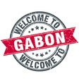 welcome to Gabon red round vintage stamp vector image vector image