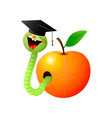 worm and apple vector image vector image
