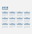 year 2018 calendar outline design vector image
