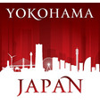 yokohama japan city skyline silhouette red vector image vector image