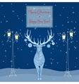 Christmas deer near street light Merry Christmas vector image