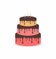 birthday cake with candles three tiers cake with vector image