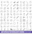 100 space technology icons set outline style vector image vector image