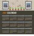 2017 Printable Calendar Starts Sunday vector image vector image
