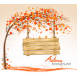 autumn nature background with a tree and a wooden vector image vector image