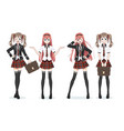 beautiful anime manga schoolgirl in skirt vector image vector image