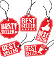Best seller red tag set vector image vector image