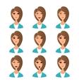 Cartoon girl emotion faces vector image